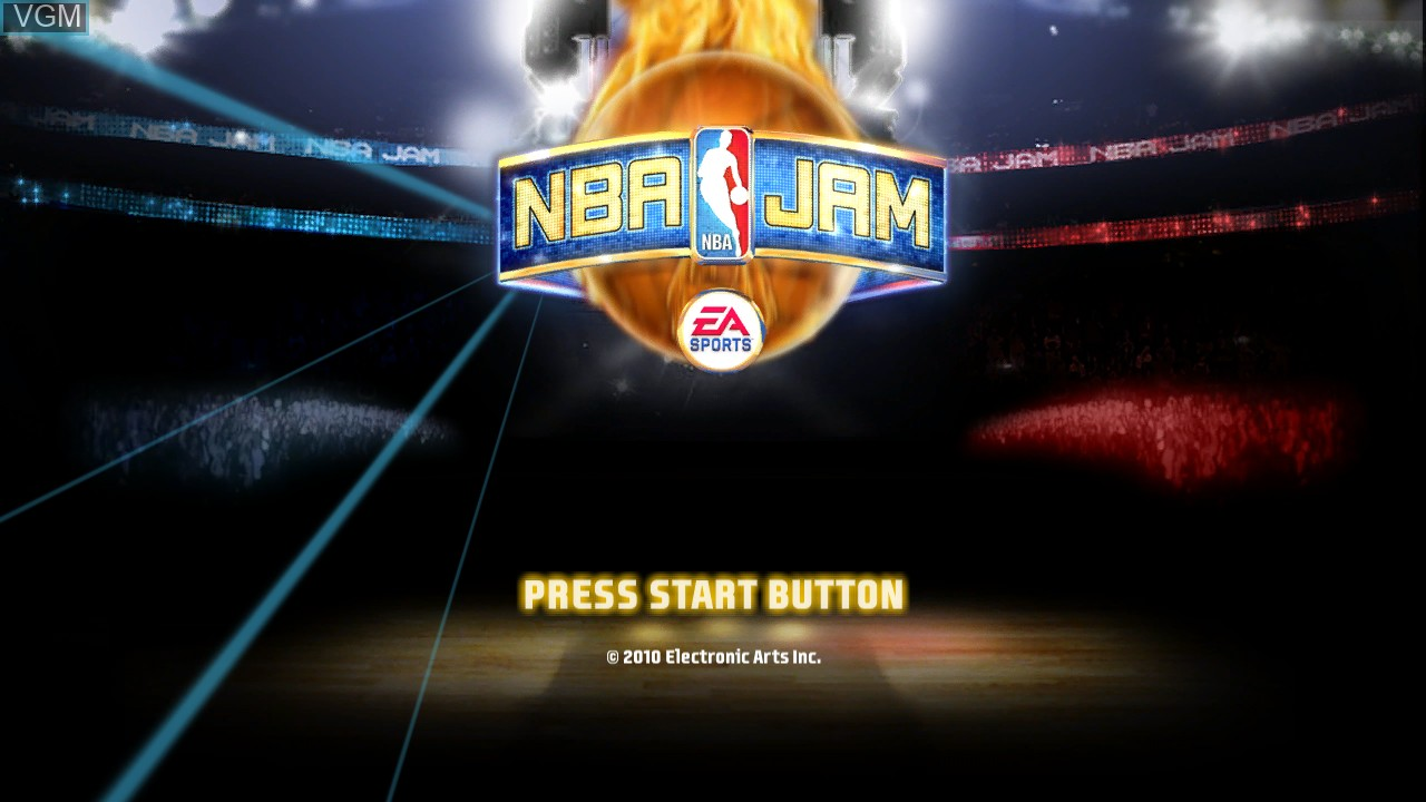 Title screen of the game NBA Jam on Sony Playstation 3