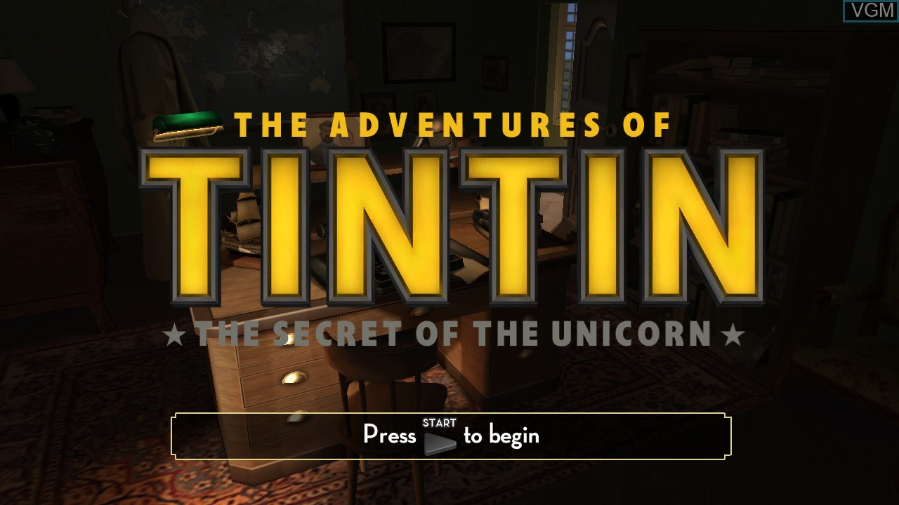 Title screen of the game Adventures of Tintin, The - The Secret of the Unicorn on Sony Playstation 3