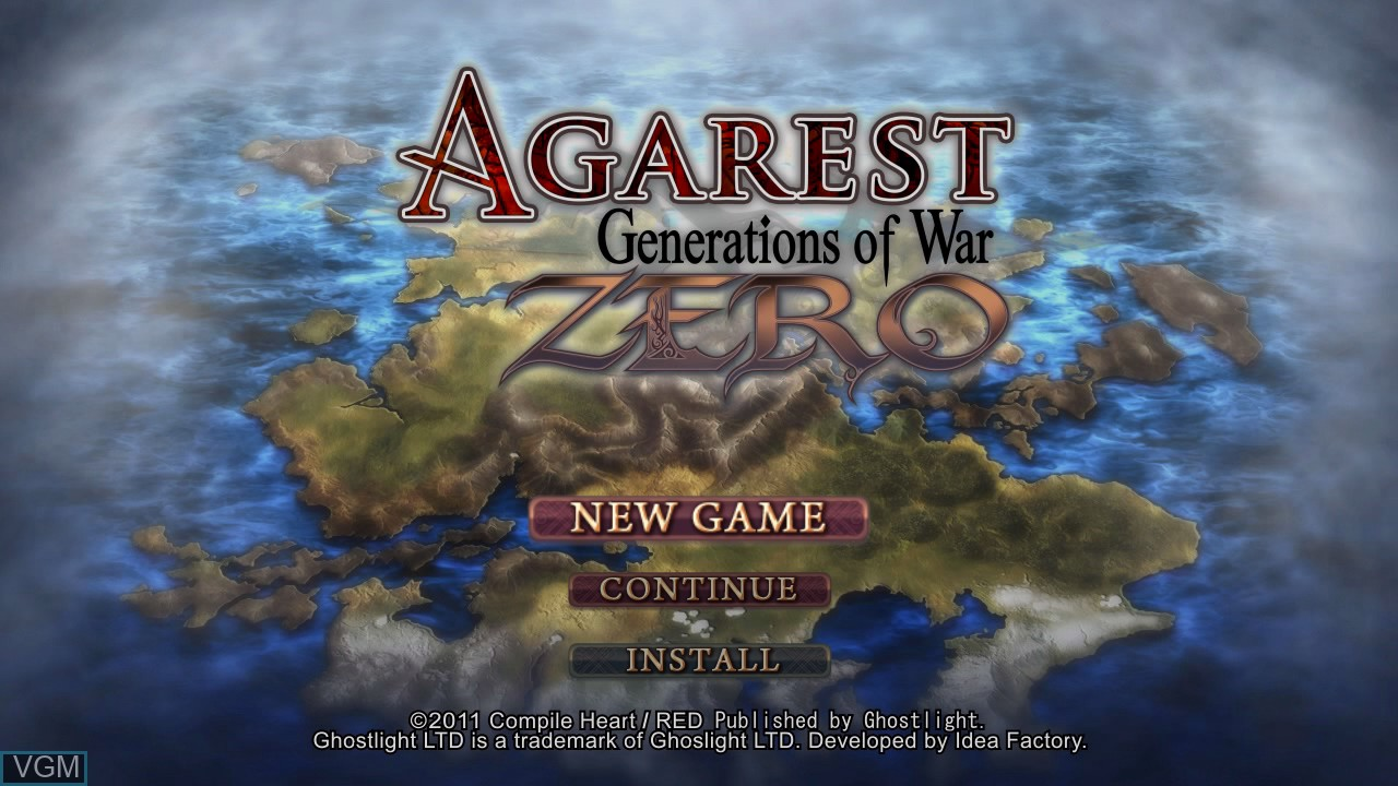 Title screen of the game Agarest - Generations of War Zero on Sony Playstation 3