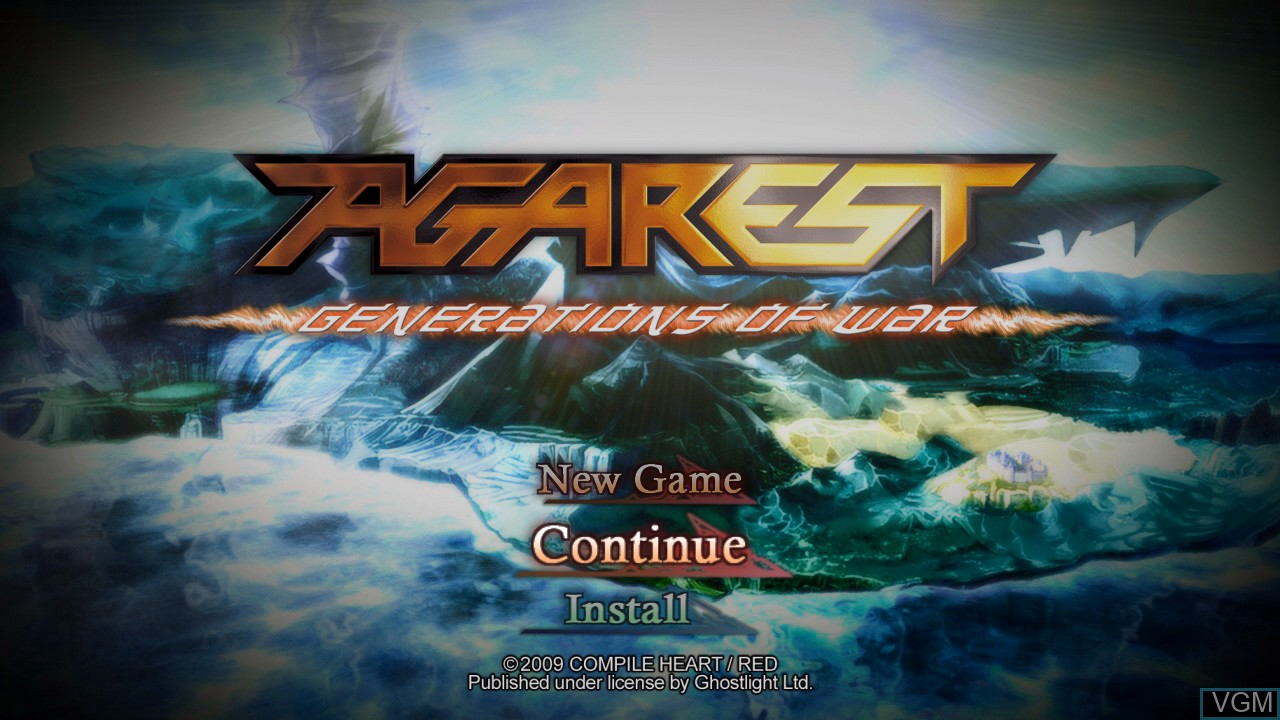 Title screen of the game Agarest - Generations of War on Sony Playstation 3