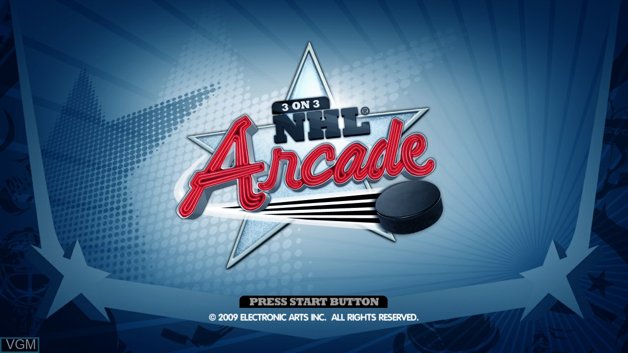 Title screen of the game 3 on 3 NHL Arcade on Sony Playstation 3