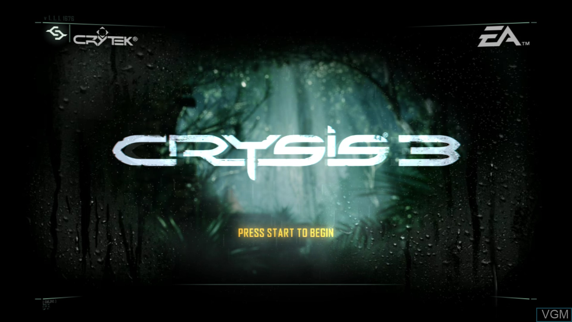 Title screen of the game Crysis 3 on Sony Playstation 3