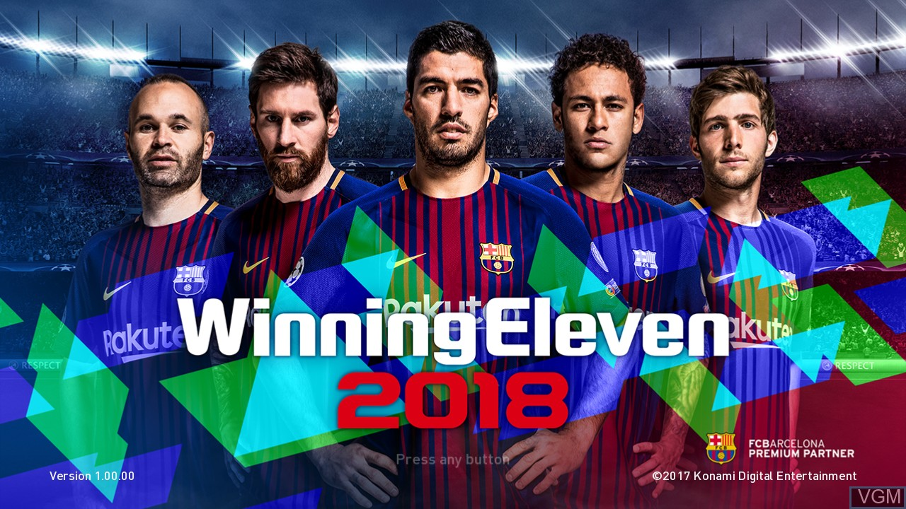Title screen of the game Winning Eleven 2018 on Sony Playstation 3