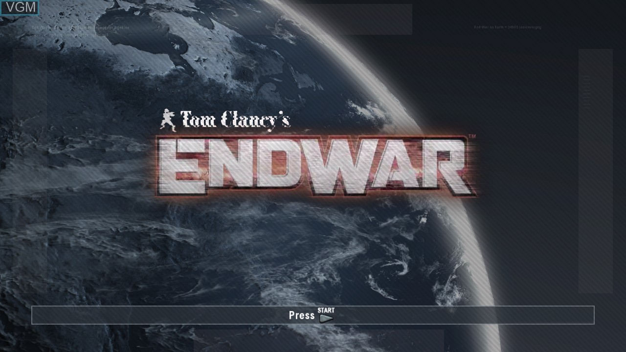 Title screen of the game Tom Clancy's EndWar on Sony Playstation 3
