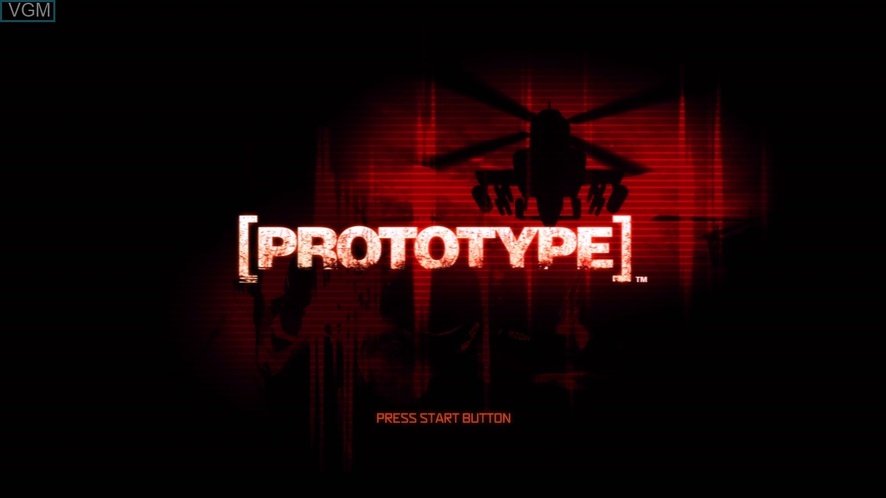 Title screen of the game Prototype on Sony Playstation 3