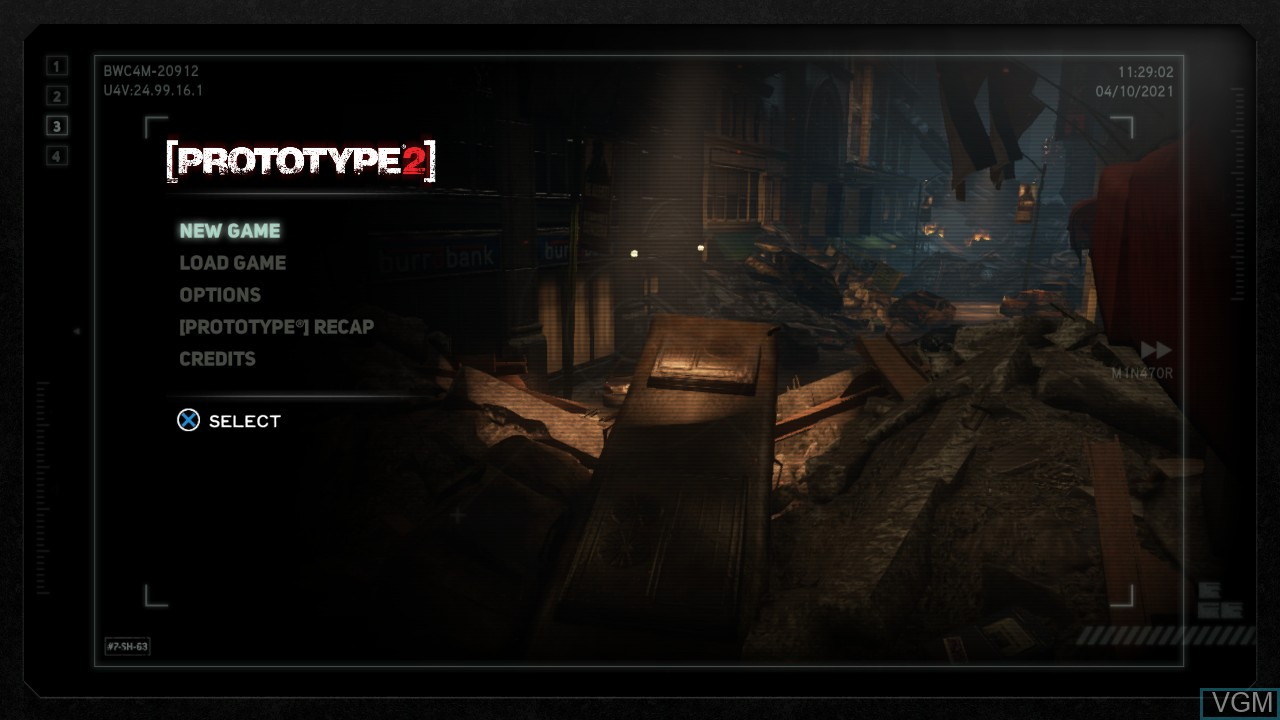 Title screen of the game Prototype 2 on Sony Playstation 3