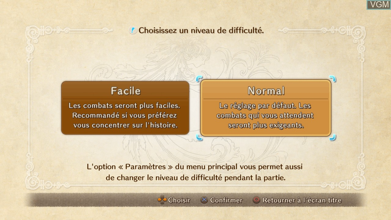Menu screen of the game Ni no Kuni - Wrath of the White Witch on Sony Playstation 3