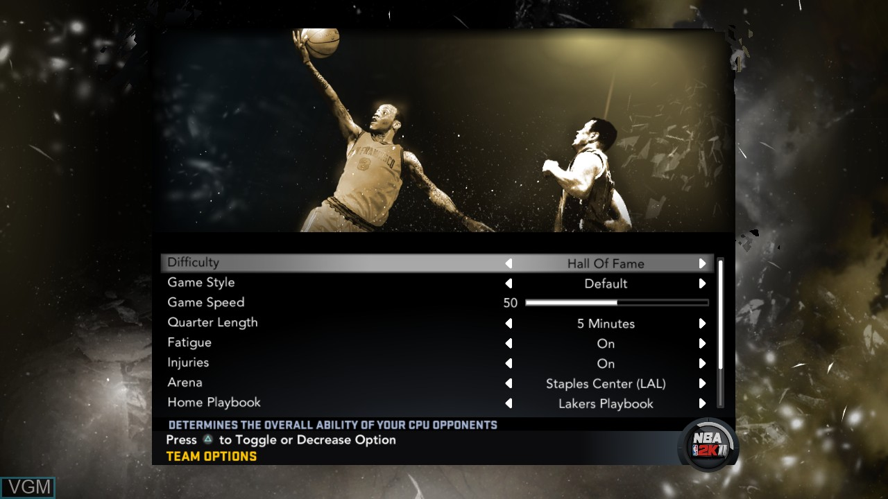 Menu screen of the game NBA 2K11 on Sony Playstation 3
