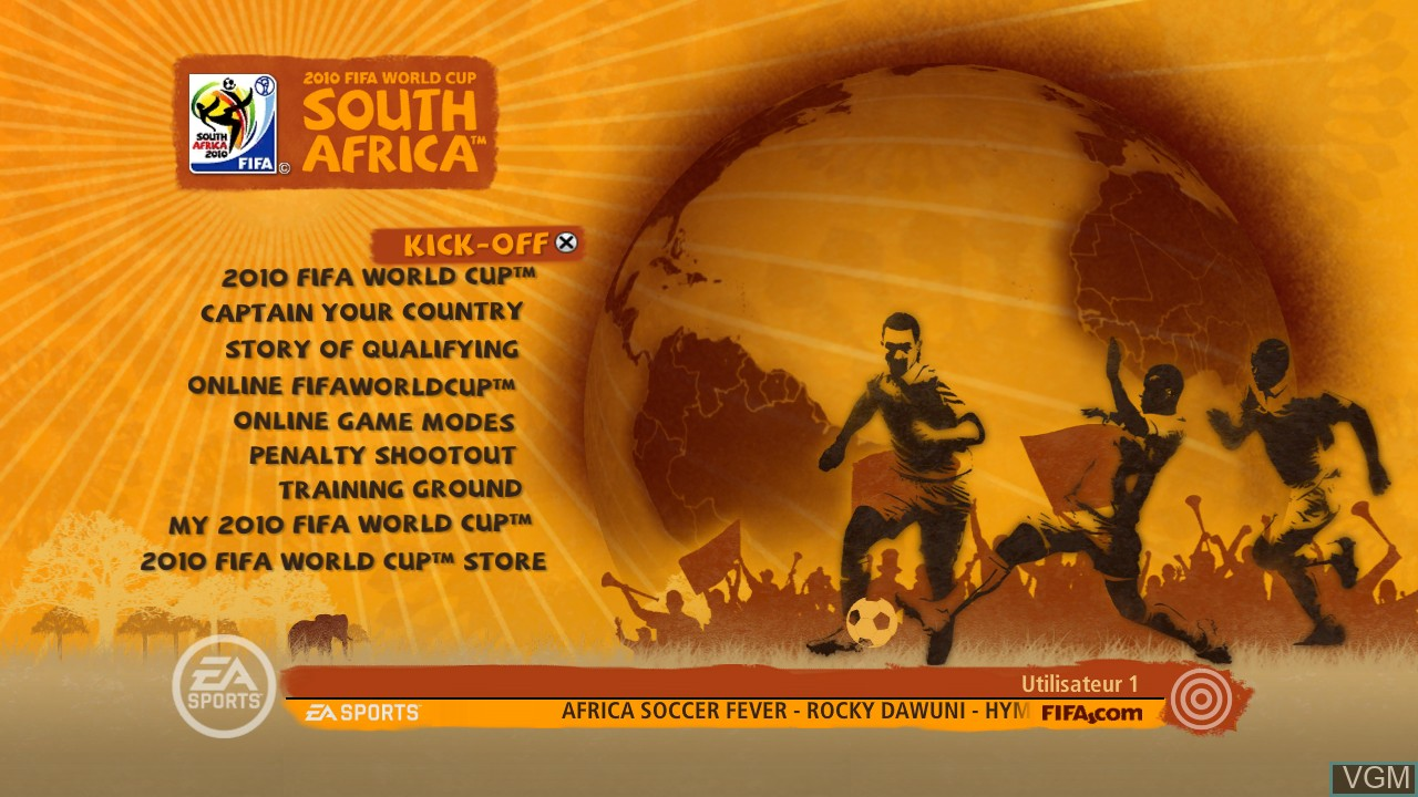 Menu screen of the game 2010 FIFA World Cup South Africa on Sony Playstation 3