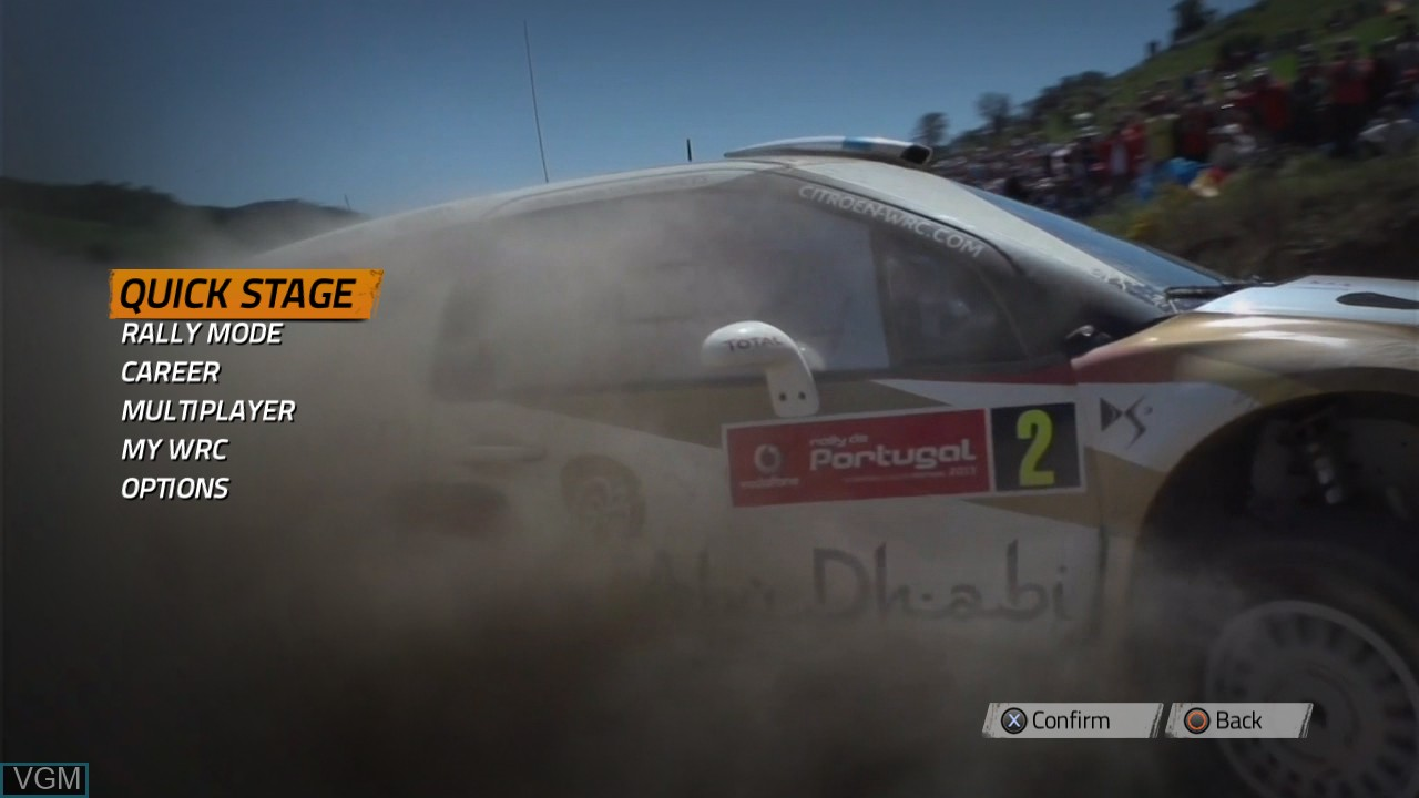 Menu screen of the game WRC 4 - FIA World Rally Championship on Sony Playstation 3