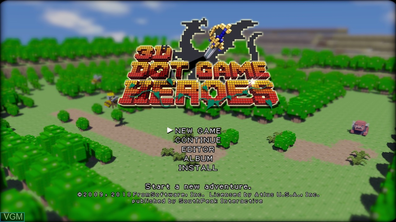 Menu screen of the game 3D Dot Game Heroes on Sony Playstation 3
