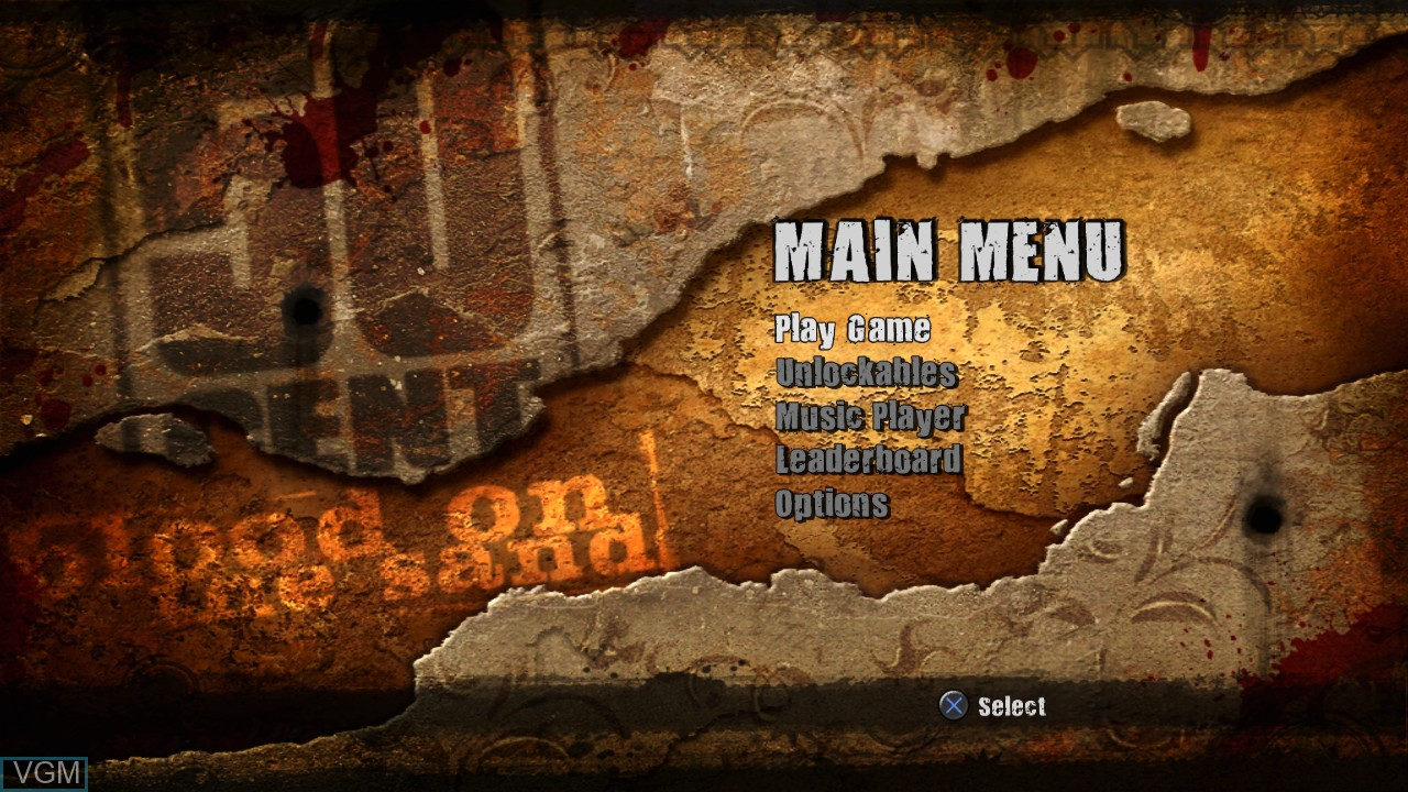 Menu screen of the game 50 Cent - Blood on the Sand on Sony Playstation 3
