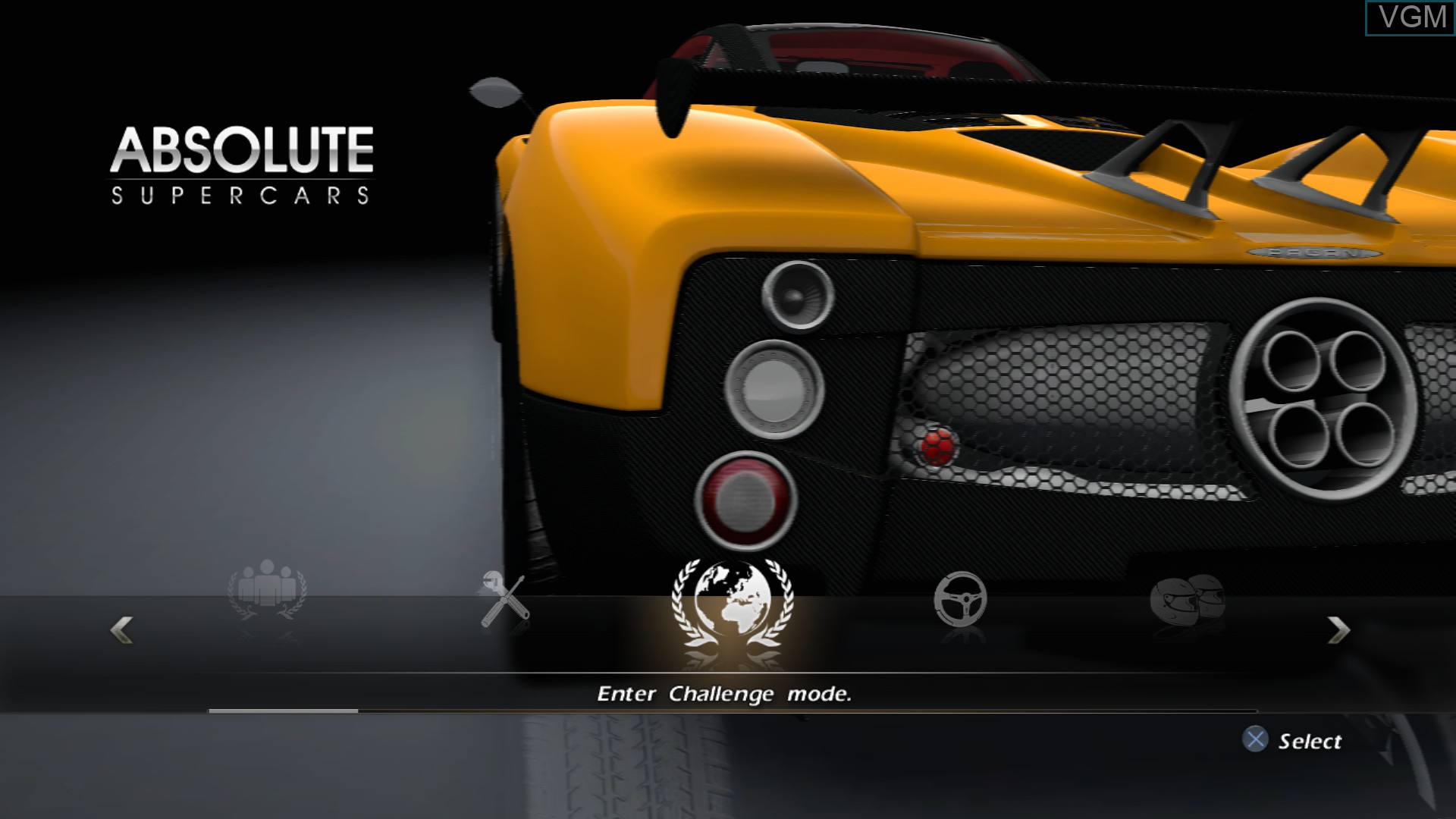 Menu screen of the game Absolute Supercars on Sony Playstation 3