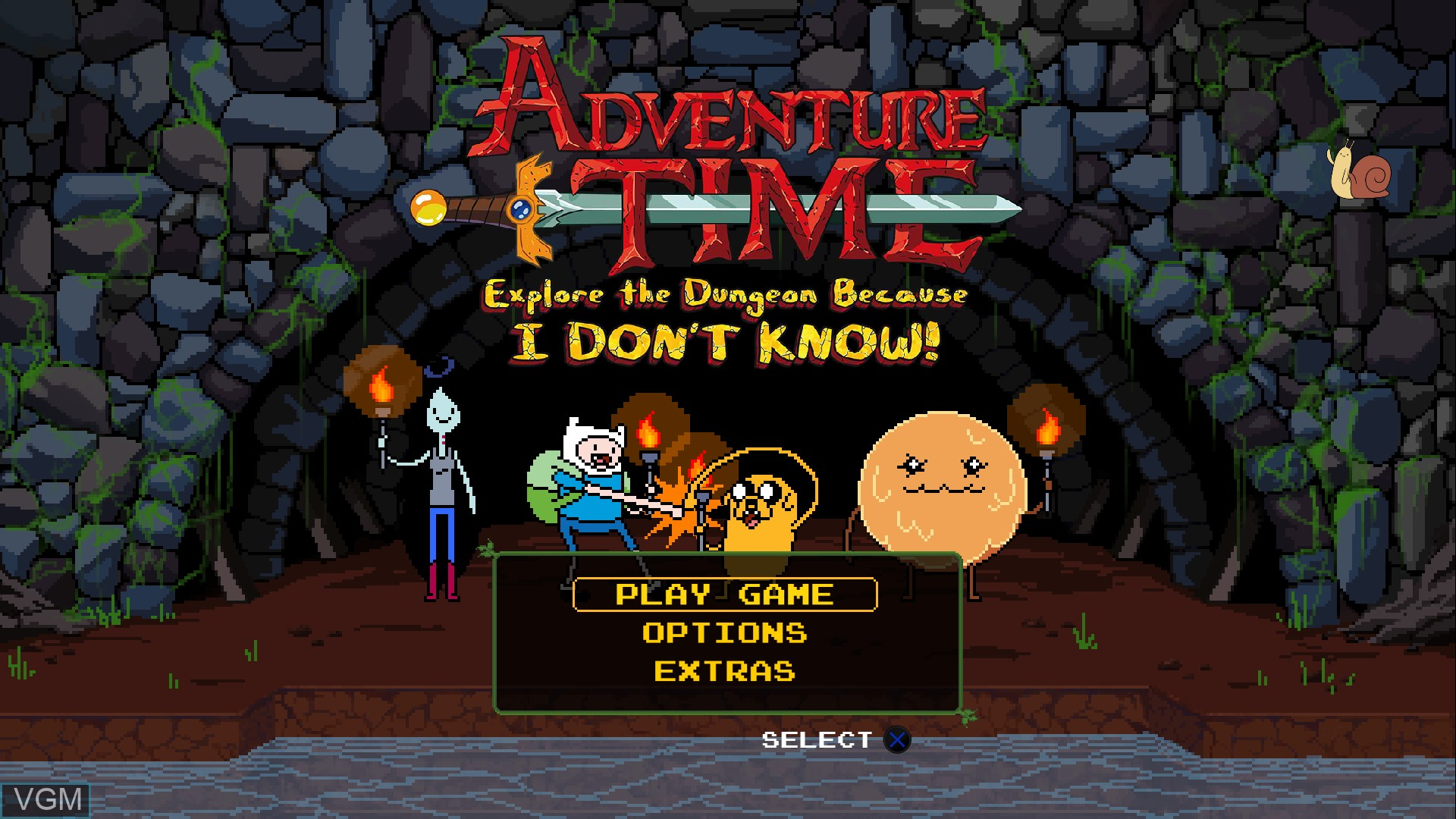 Menu screen of the game Adventure Time - Explore the Dungeon Because I DON'T KNOW! on Sony Playstation 3