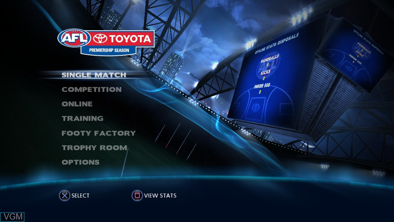 Menu screen of the game AFL Live on Sony Playstation 3