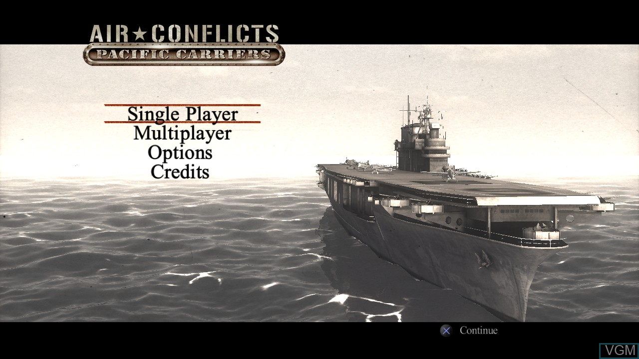 Menu screen of the game Air Conflicts - Pacific Carriers on Sony Playstation 3