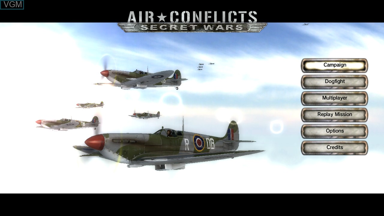 Menu screen of the game Air Conflicts - Secret Wars on Sony Playstation 3
