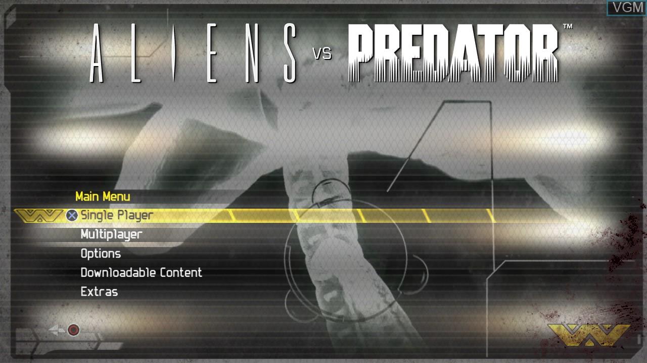 Menu screen of the game Aliens vs. Predator on Sony Playstation 3