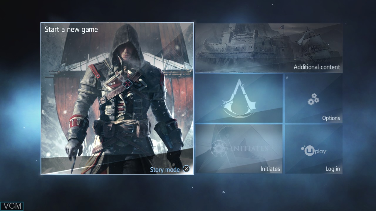 Menu screen of the game Assassin's Creed Rogue on Sony Playstation 3