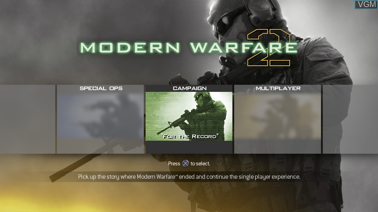 Menu screen of the game Call of Duty - Modern Warfare 2 on Sony Playstation 3