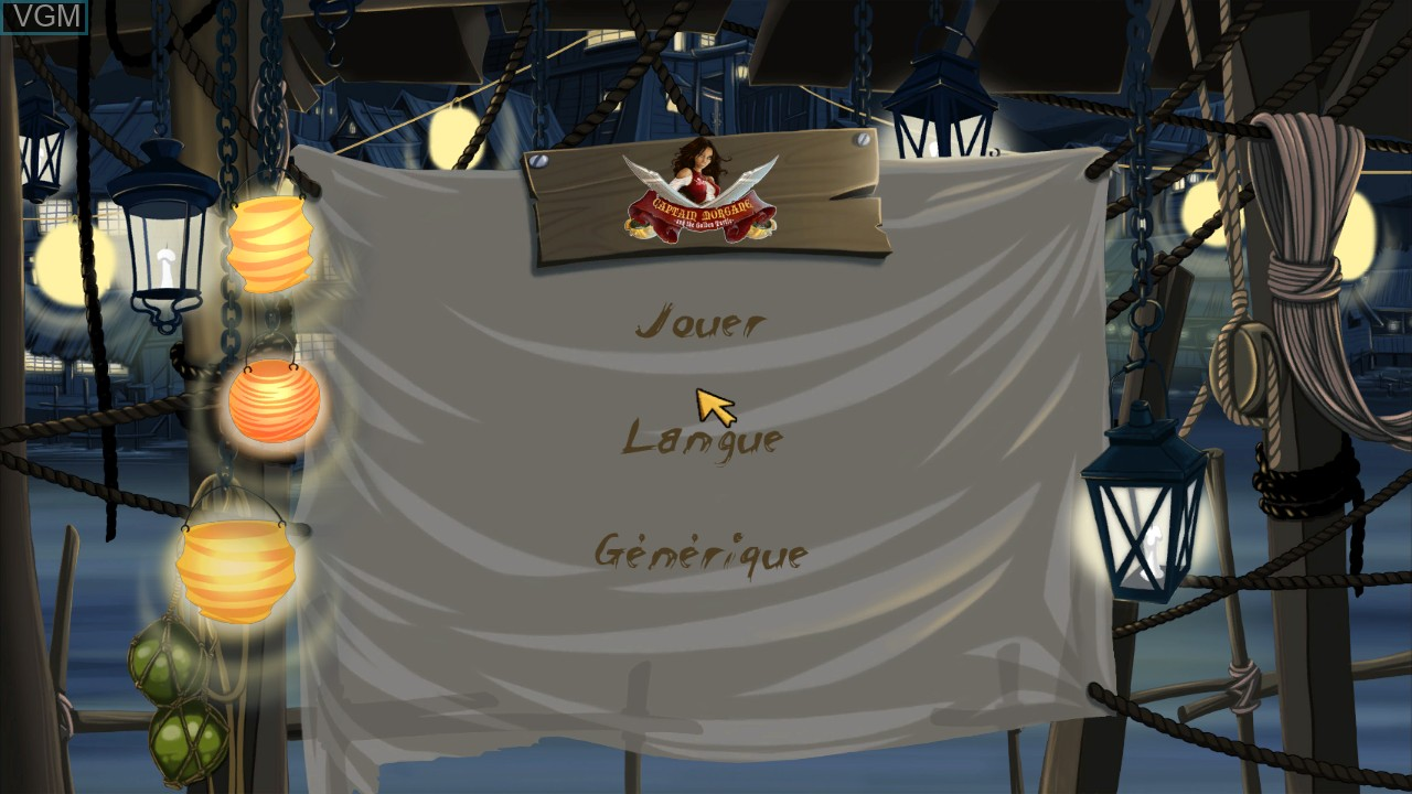 Menu screen of the game Captain Morgane and the Golden Turtle on Sony Playstation 3