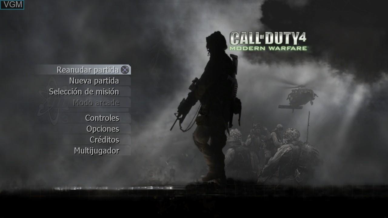 Menu screen of the game Call of Duty 4 - Modern Warfare on Sony Playstation 3