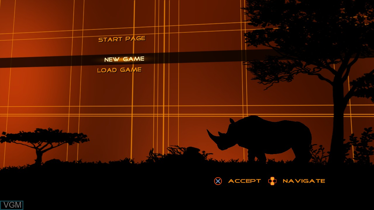 Menu screen of the game Cabela's Dangerous Adventures on Sony Playstation 3