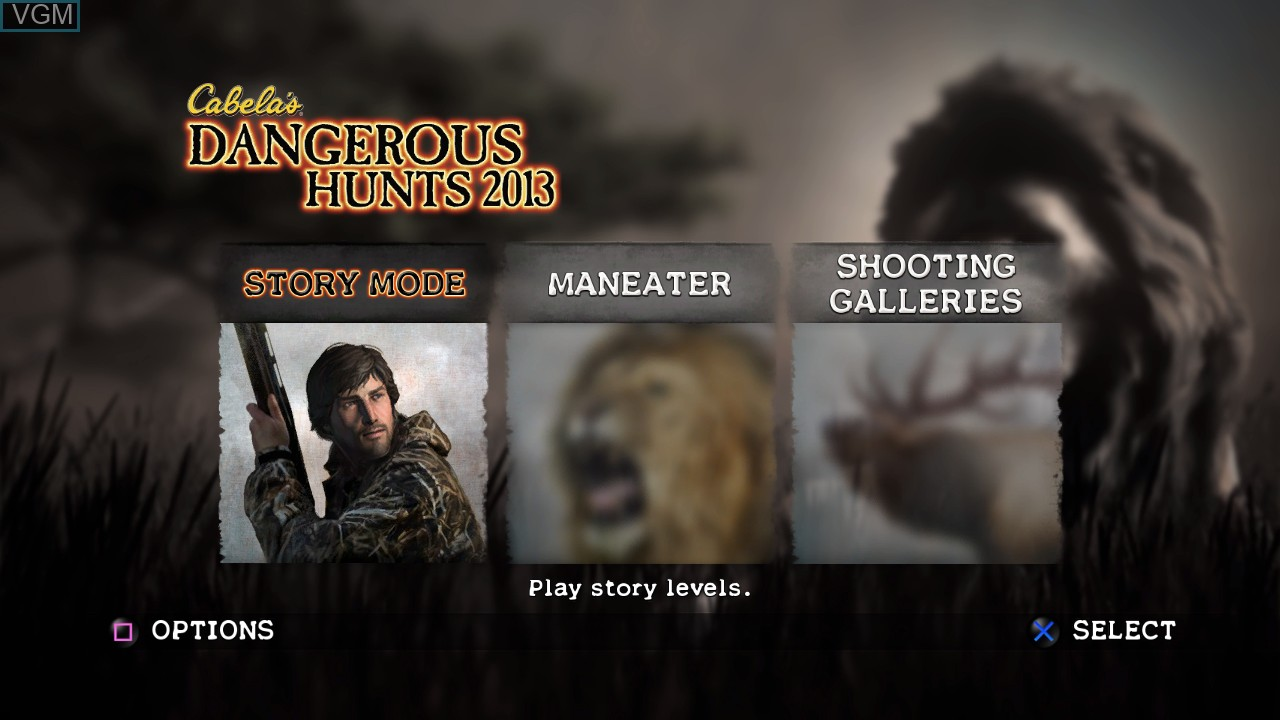 Menu screen of the game Cabela's Dangerous Hunts 2013 on Sony Playstation 3