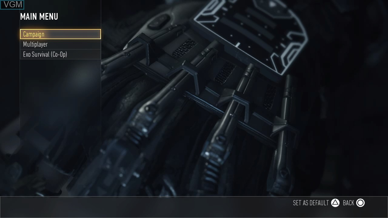 Menu screen of the game Call of Duty - Advanced Warfare on Sony Playstation 3