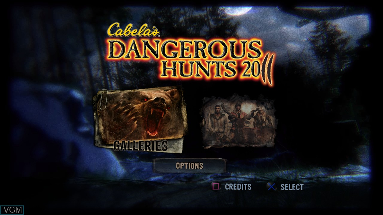 Menu screen of the game Cabela's Dangerous Hunts 2011 on Sony Playstation 3