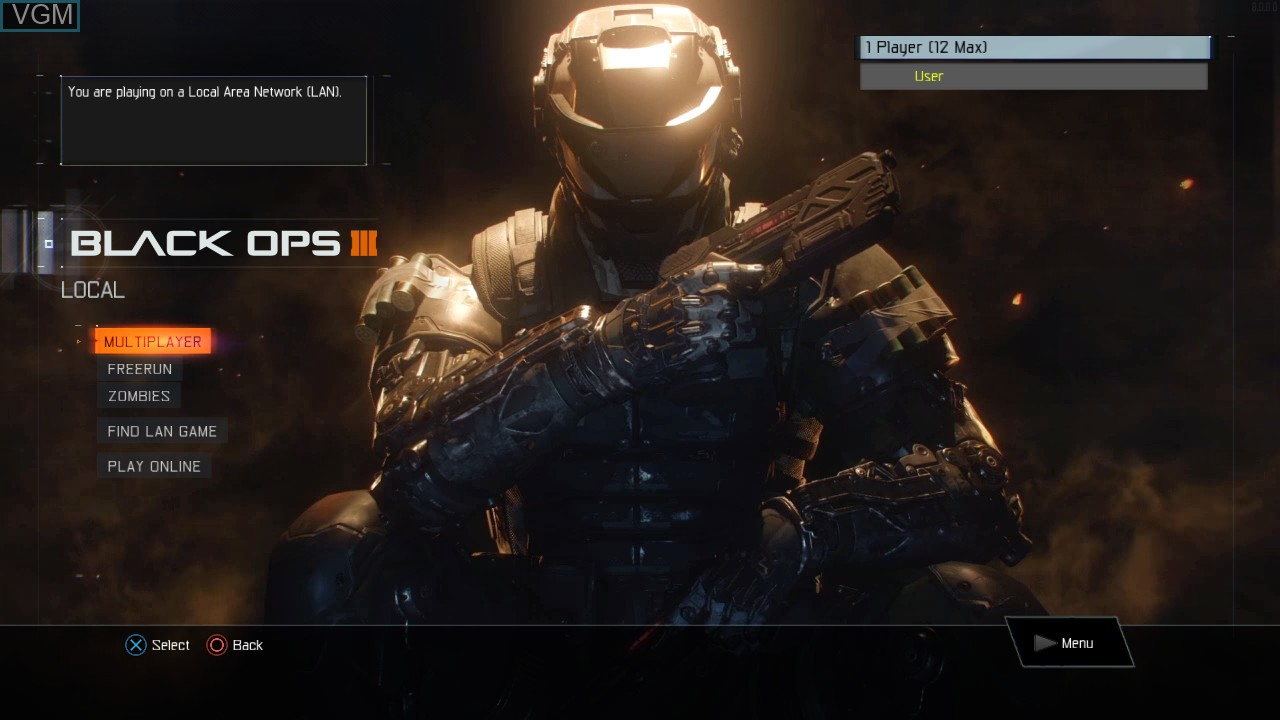 Menu screen of the game Call of Duty - Black Ops III on Sony Playstation 3