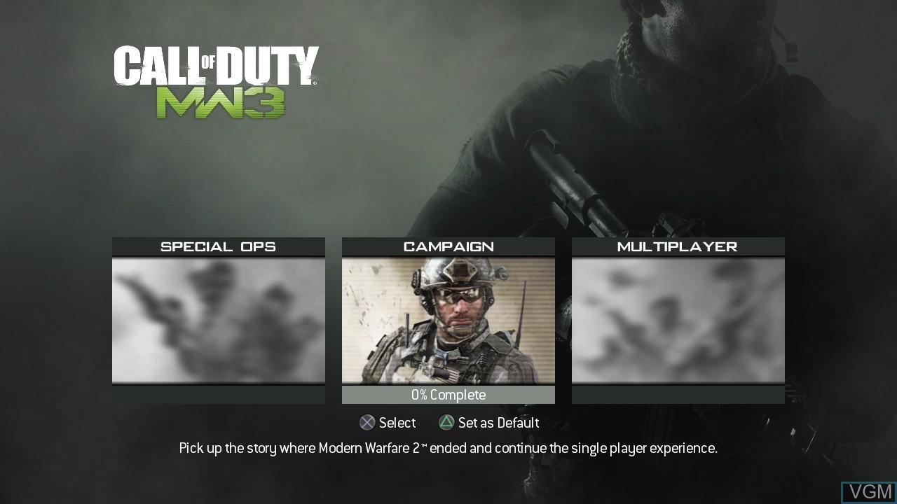 Menu screen of the game Call of Duty - Modern Warfare 3 on Sony Playstation 3
