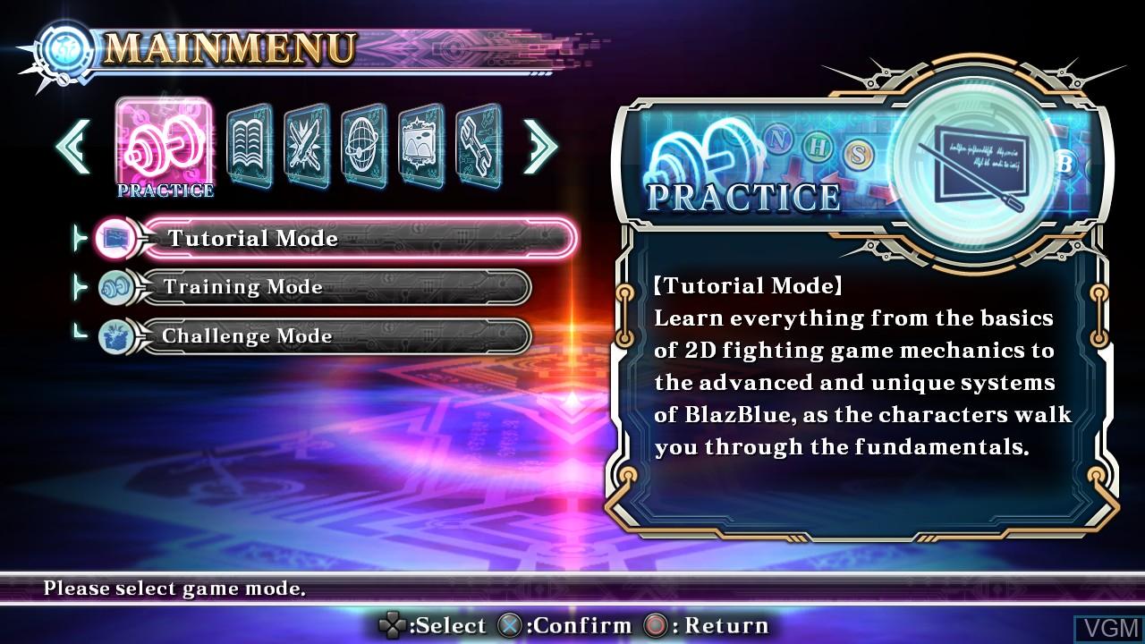 Menu screen of the game BlazBlue - Chrono Phantasma Extend on Sony Playstation 3