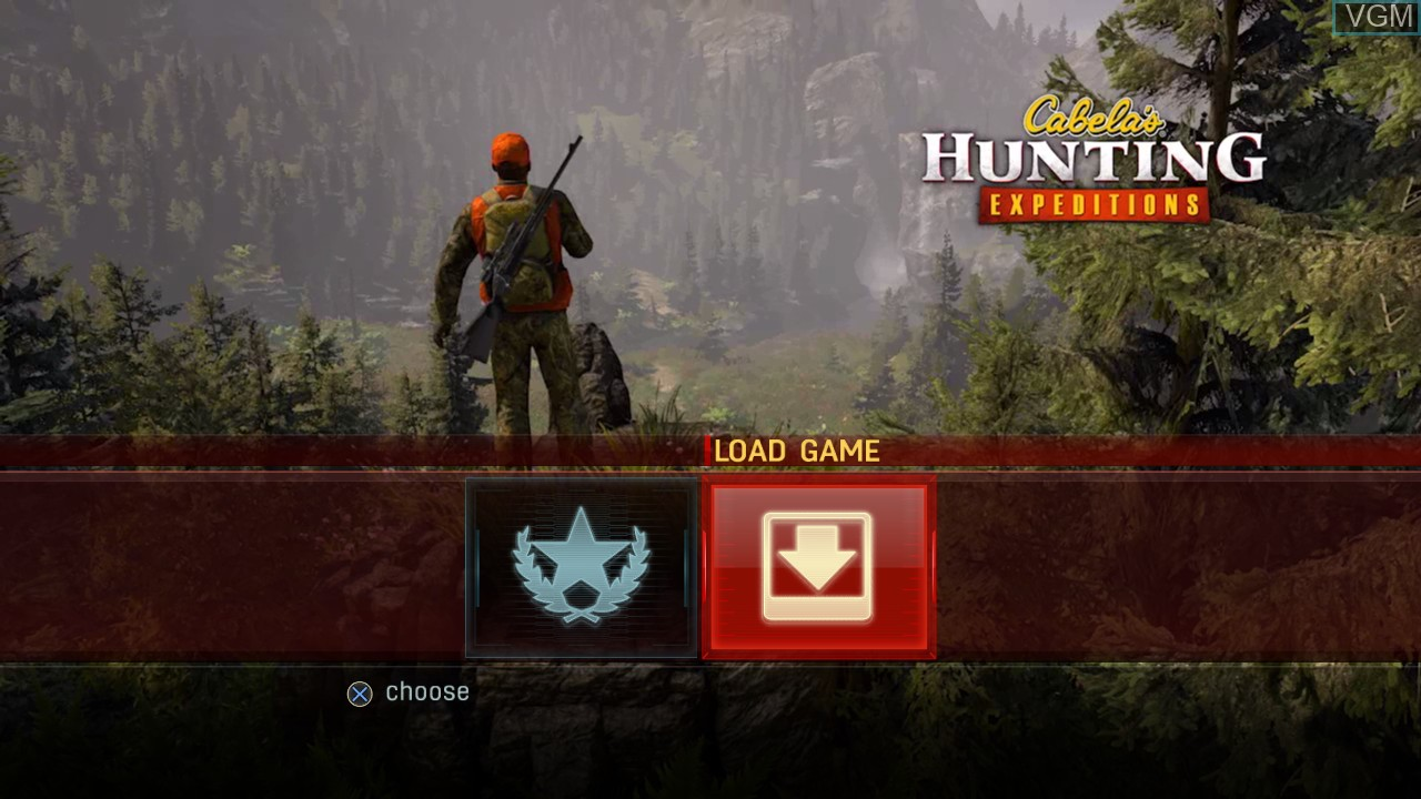 Menu screen of the game Cabela's Hunting Expeditions on Sony Playstation 3