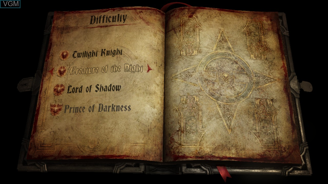 Menu screen of the game Castlevania - Lords of Shadow 2 on Sony Playstation 3