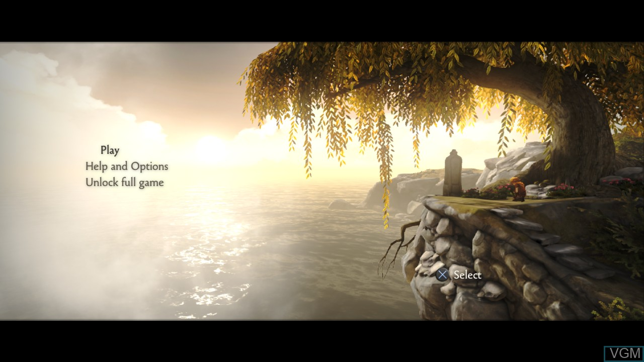 Menu screen of the game Brothers - A Tale of Two Sons on Sony Playstation 3