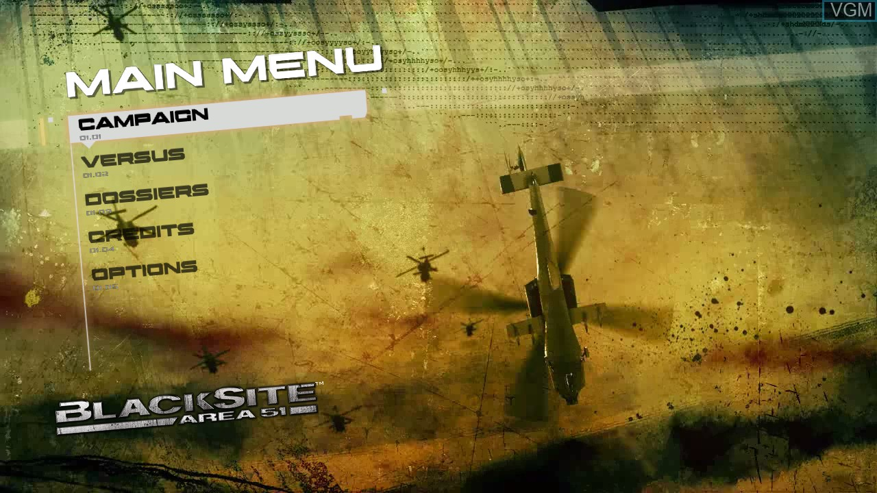 Menu screen of the game BlackSite - Area 51 on Sony Playstation 3