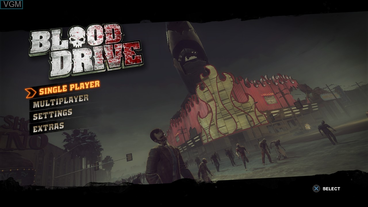 Menu screen of the game Blood Drive on Sony Playstation 3