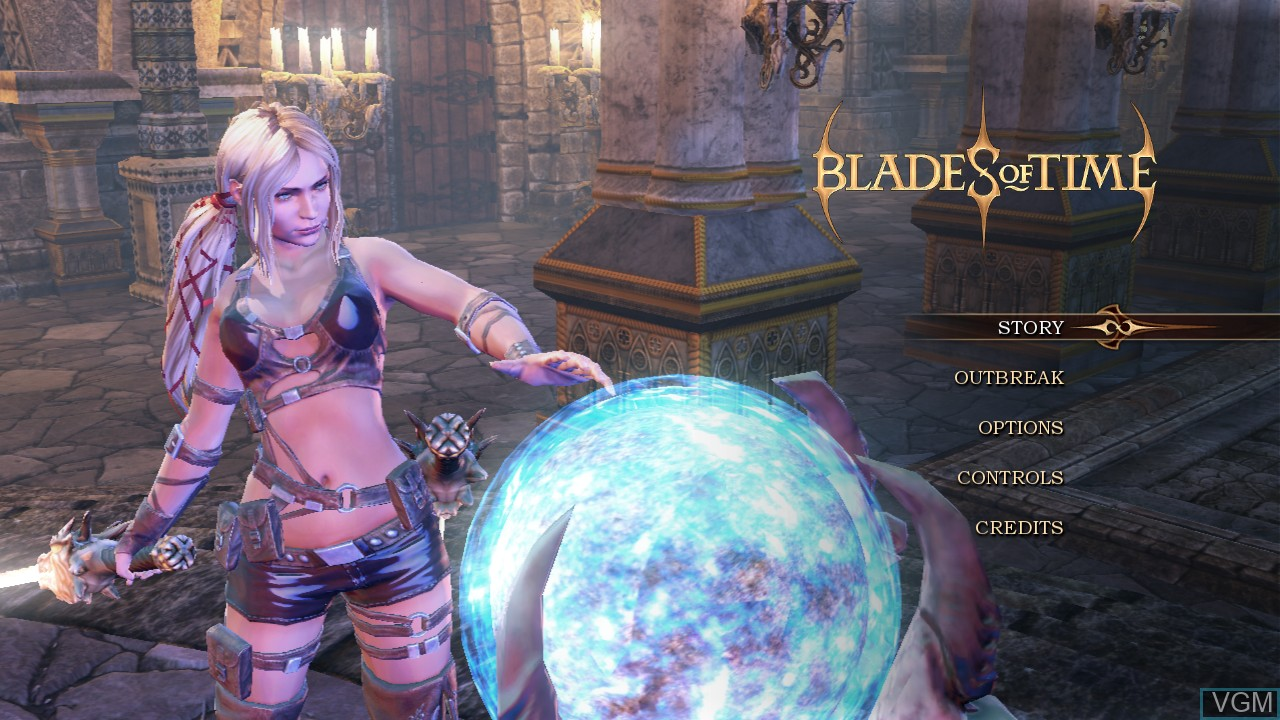 Menu screen of the game Blades of Time on Sony Playstation 3