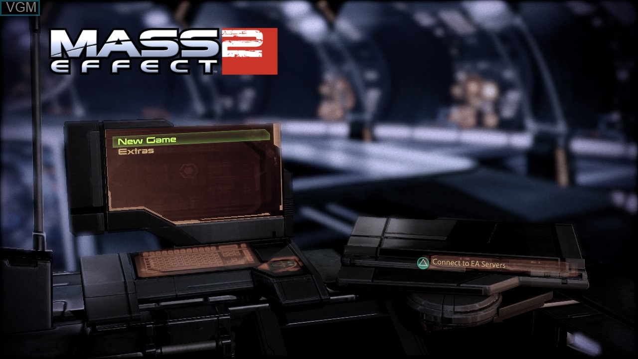 Menu screen of the game Mass Effect 2 on Sony Playstation 3