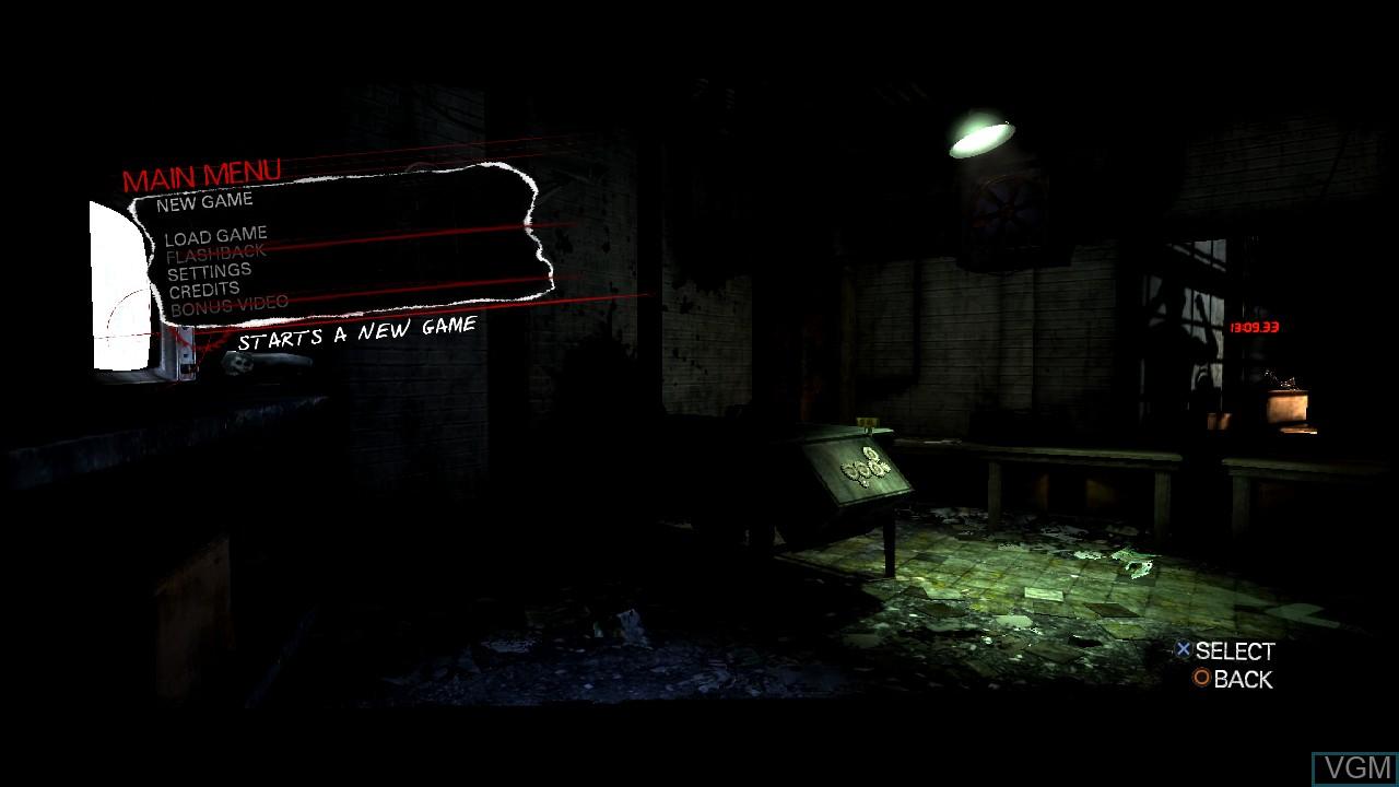 Menu screen of the game Saw II - Flesh & Blood on Sony Playstation 3