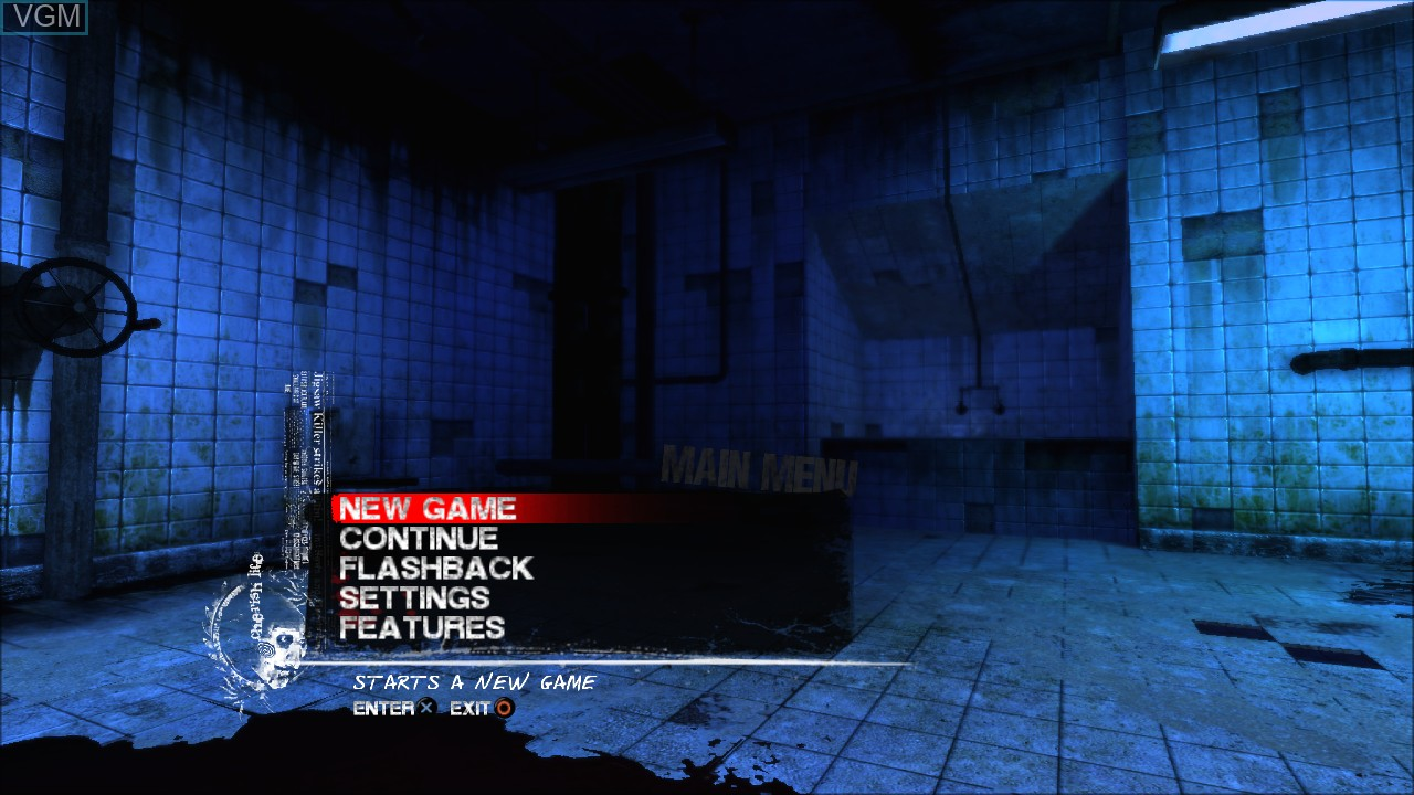 Menu screen of the game Saw on Sony Playstation 3