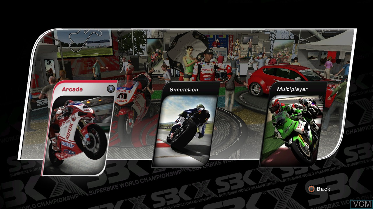 Menu screen of the game SBK X - Superbike World Championship on Sony Playstation 3