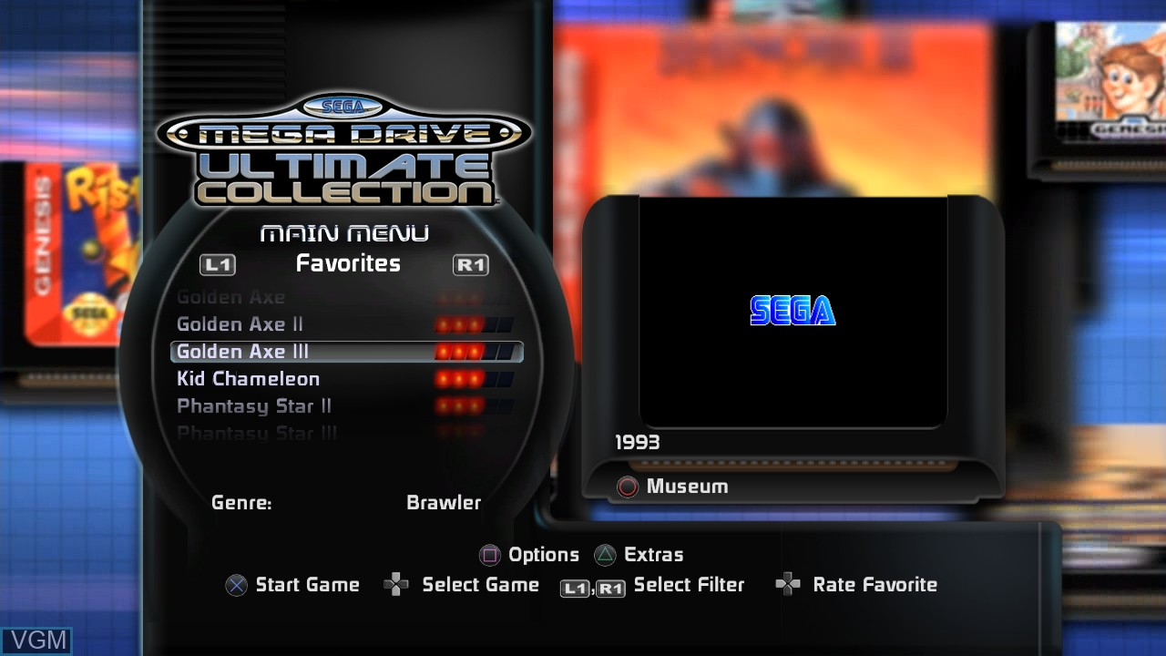 Menu screen of the game SEGA Mega Drive Ultimate Collection on Sony Playstation 3