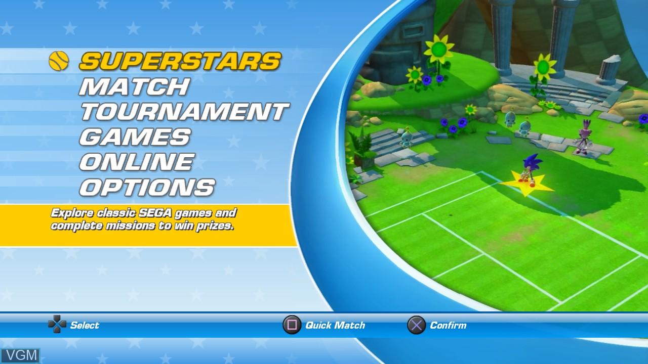 Menu screen of the game Sega Superstars Tennis on Sony Playstation 3