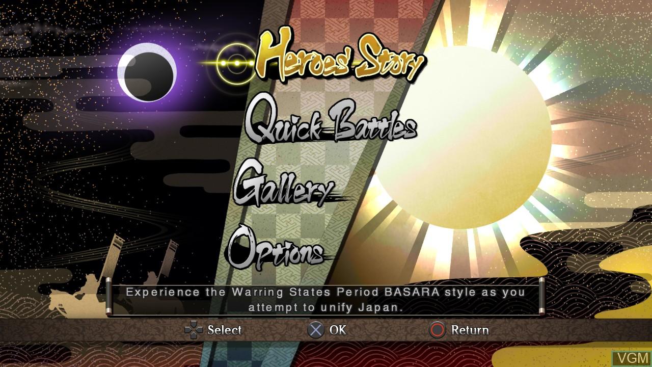 Menu screen of the game Sengoku Basara - Samurai Heroes on Sony Playstation 3