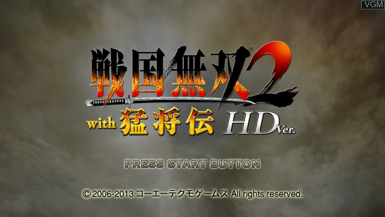 Menu screen of the game Sengoku Musou 2 with Moushouden & Empires HD Version on Sony Playstation 3