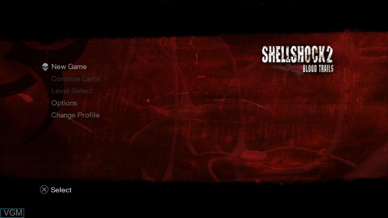 Menu screen of the game ShellShock 2 - Blood Trails on Sony Playstation 3