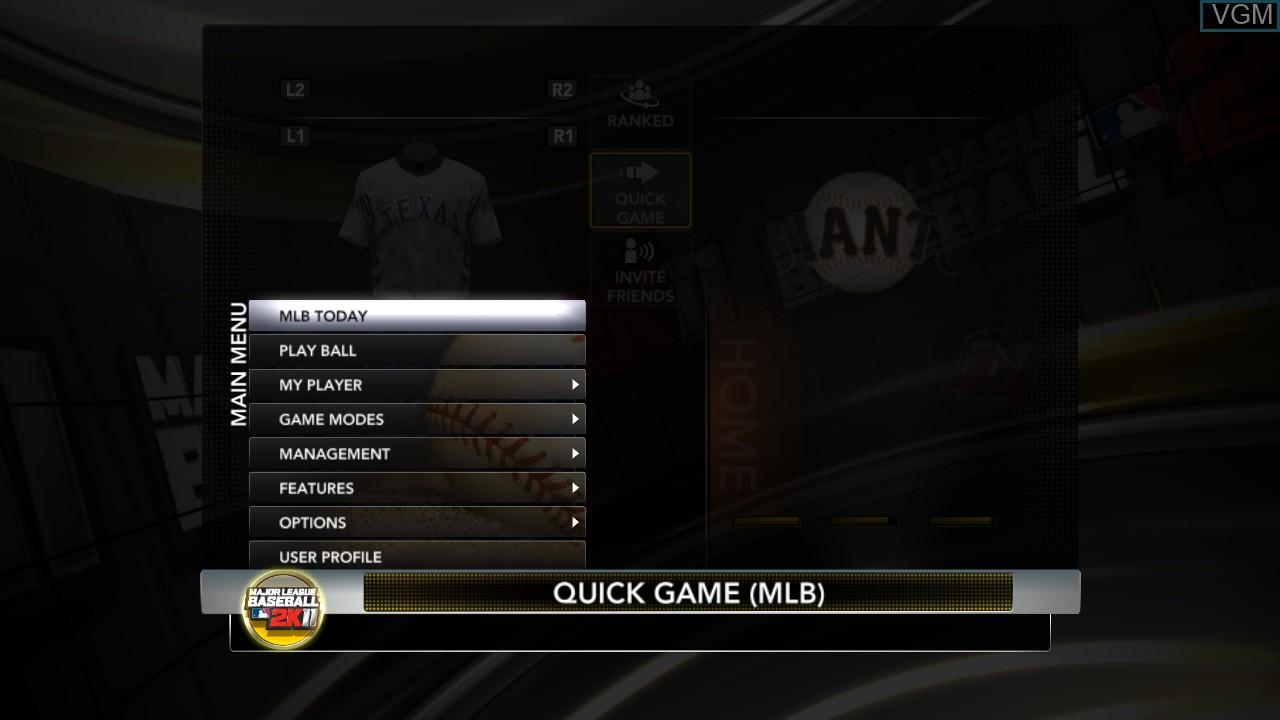 Menu screen of the game Major League Baseball 2K11 on Sony Playstation 3