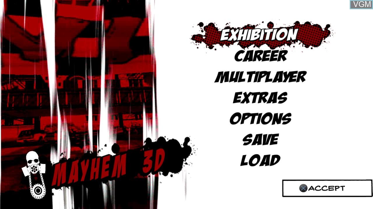 Menu screen of the game Mayhem 3D on Sony Playstation 3